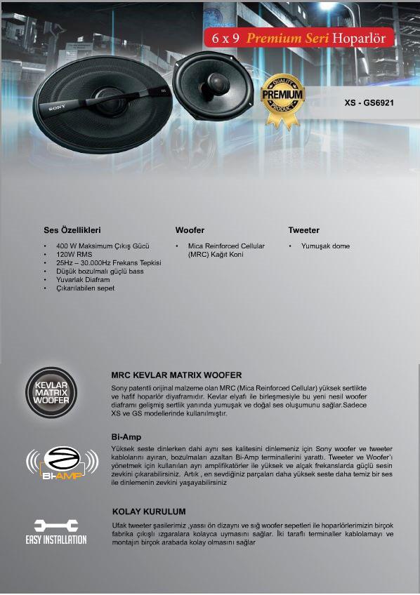 sony xs-gs6921 oto oval hoparlör