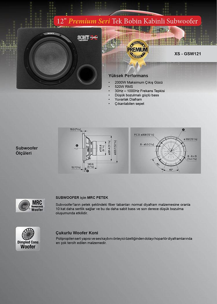 sony xs-gsw121 oto kabinli bass