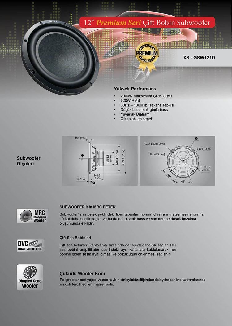 sony xs-gsw121d hoparlör