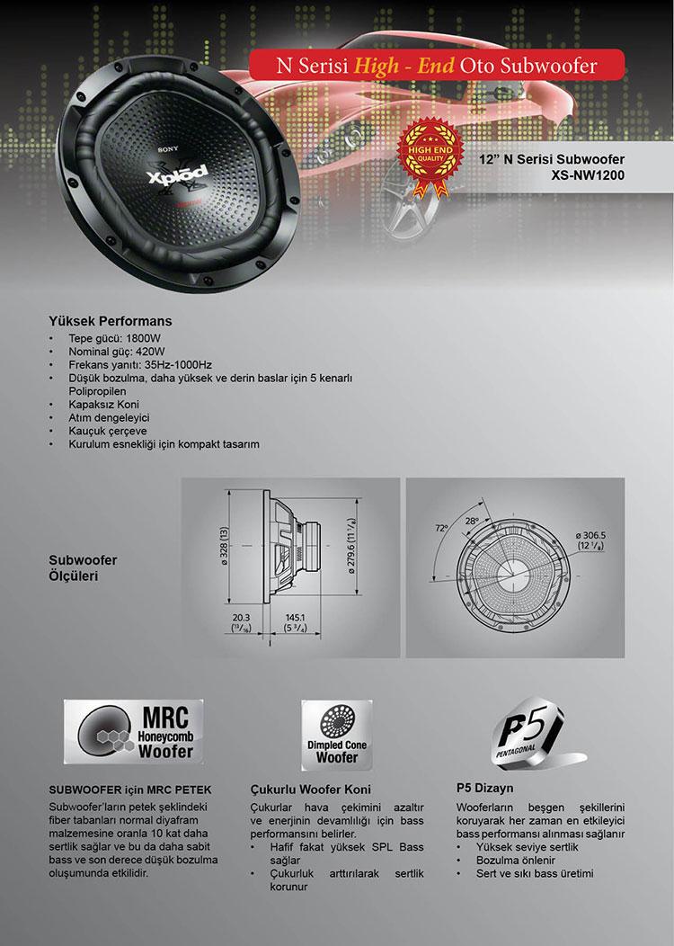 xs-nw1200 oto hoparlör bass