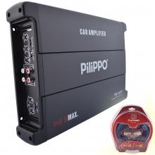 Pilippo PO-1075 4 Kanal 440 Watt Oto Amplifikatör + Kablo seti